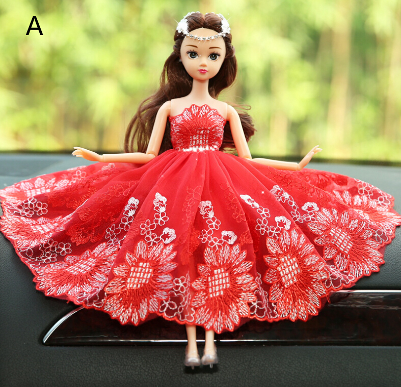 Red Noble Barbie Wedding Dolls For Car Decoration