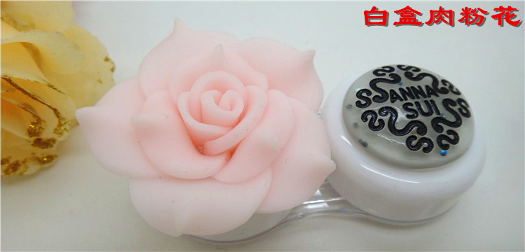 Camellia 3D Handmade Rose Flower Contact Lenses Box & Case CC14