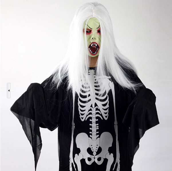 White Wigs Green Face Hag Halloween Headgear
