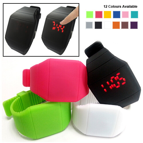 Touch Screen LED Watch with Red Light Rectangle Dial and Silicon