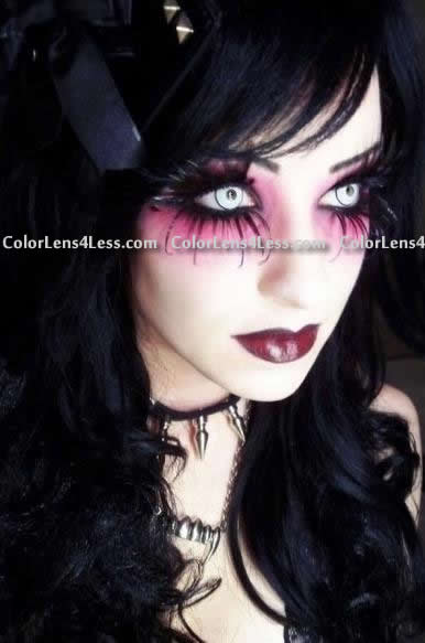 White Manson Halloween Contacts (PAIR)