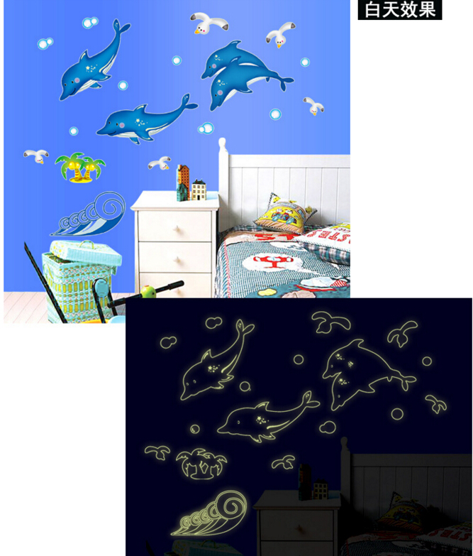 Dolphin Glow in The Dark Wall Sticker