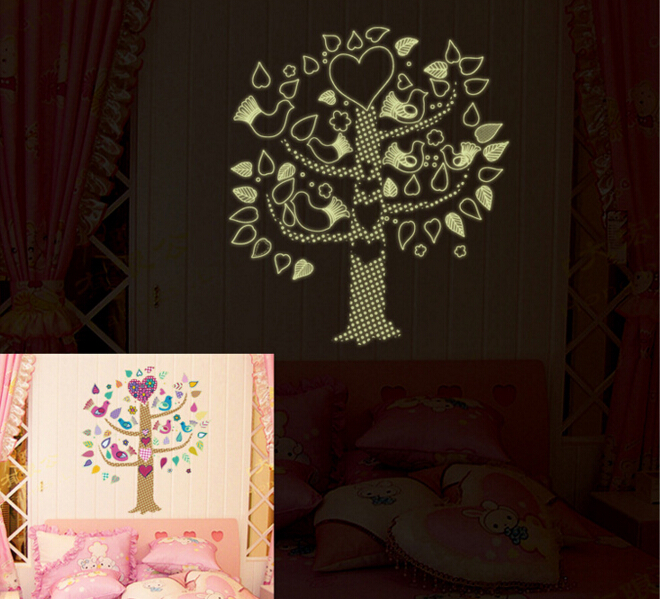 Birds Tree Glod in the Dark Wall Sticker