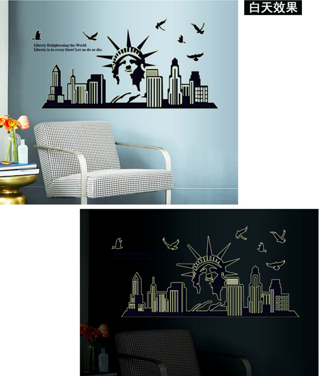 Liberty Enlightening the World Glow in The Dark Wall Sticker