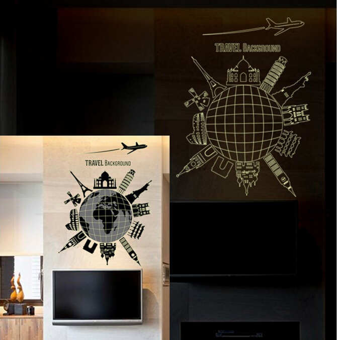 Global Travel Glod in The Dark Wall Sticker