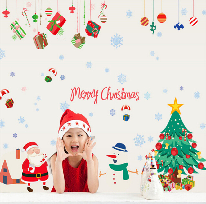 Christmas Tree & Santa Window Wall Sticker