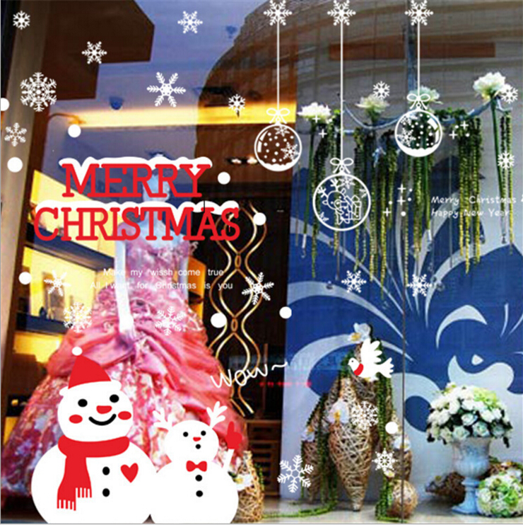 Christmas Snow Ball & Snowflake Window Wall Sticker