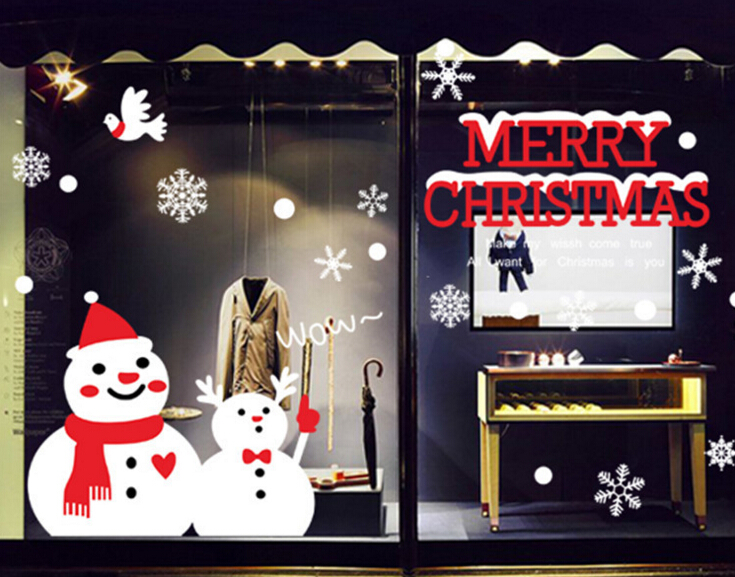 Christmas Happy Snowmen Window Wall Sticker