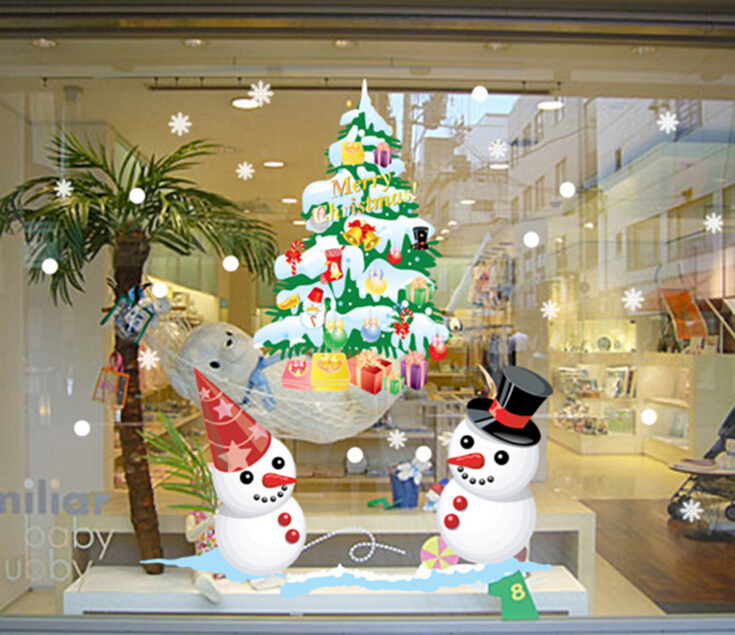 Christmas Tree & Snowmen Window Wall Sticker
