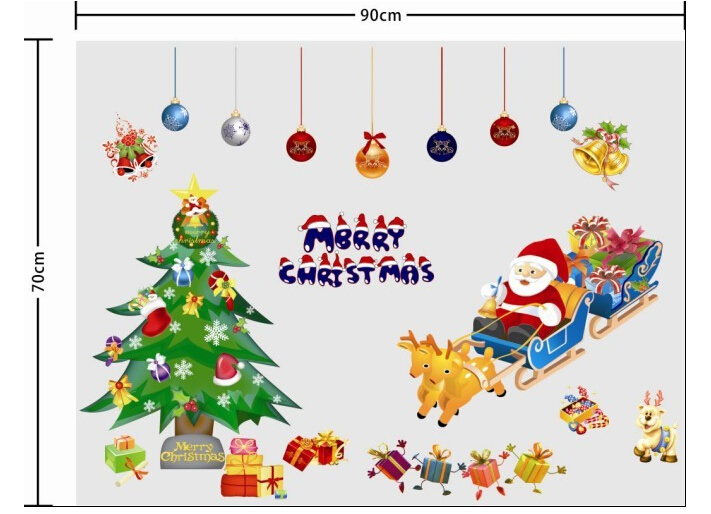 Christmas Tree and Santa Claus Window Sticker Wall Sticker