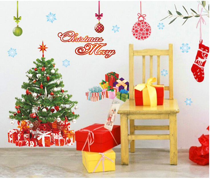 Christmas Tree & Gifts Window Sticker Wall Sticker A