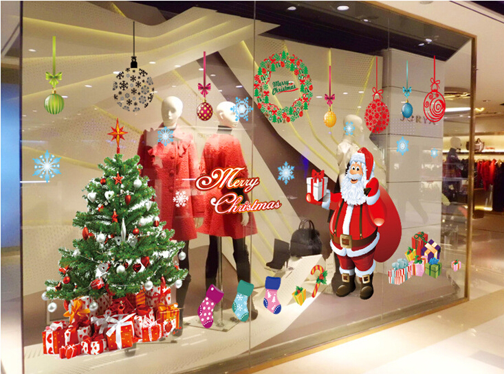 Christmas Tree & Santa Claus Window Sticker Wall Sticker