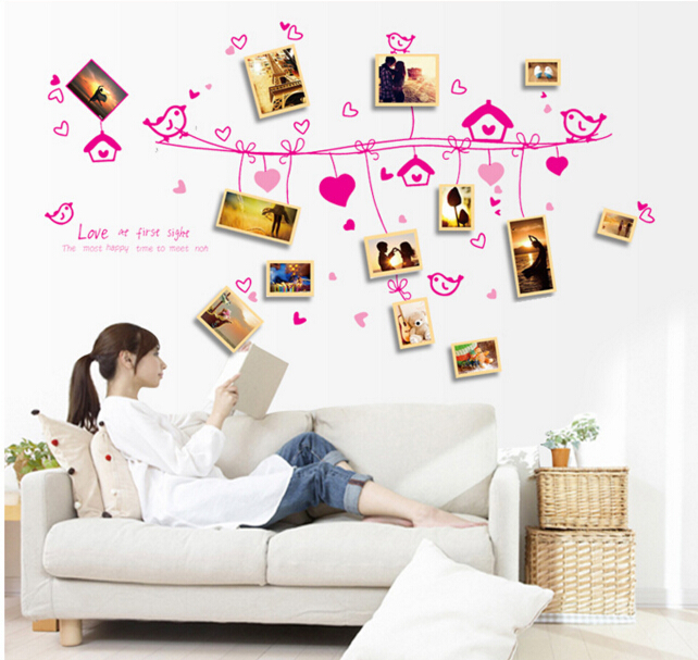 Romantic Love Birds Photo Frame Wall Stickers