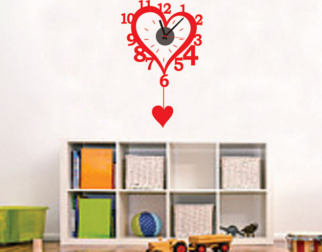 Love Heart Real Clock Wall Sticker