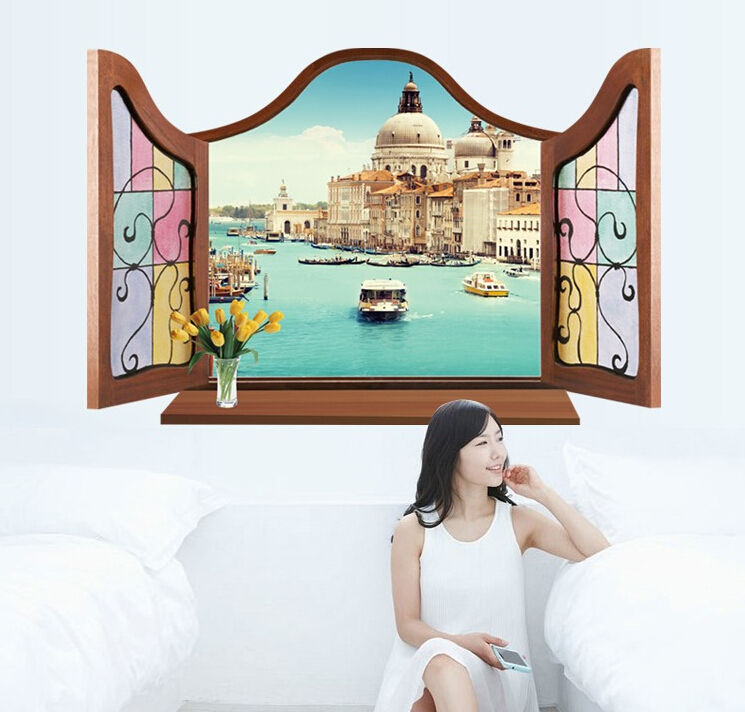 Santorini 3D Window Sticker Wall Sticker