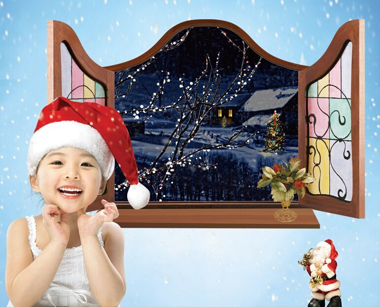 Snow House Night View 3D Window Sticker Wall Sticker
