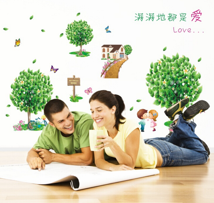 Love is Green 3D Window Sticker Wall Sticker
