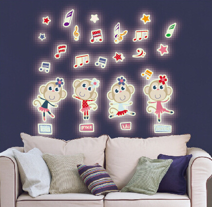 Beauty Monkey Glow in The Dark Wall Sticker