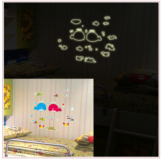 Dolphin and Fish Glow in The Dark Wall Sticker
